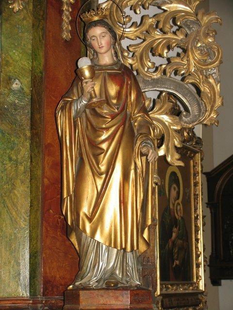 Figura św. Barbary męczennicy z barokowego ołtarza MB Niepokalanej /przed konserwacją/