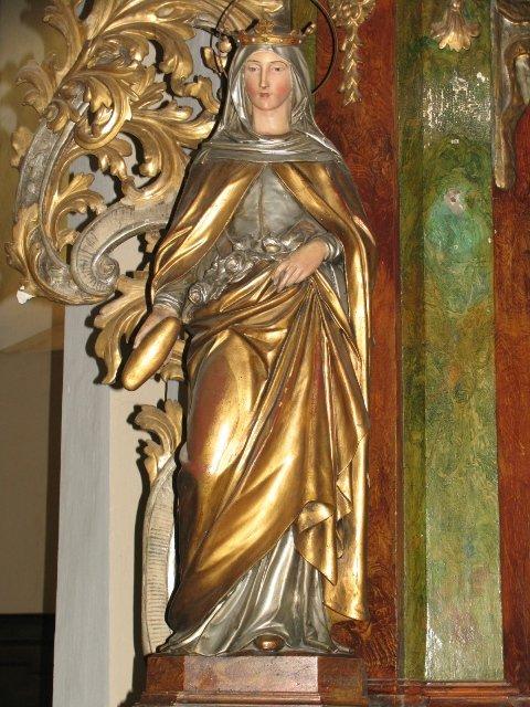 Figura św. Elżbiety z barokowego ołtarza MB Niepokalanej /przed konserwacją/