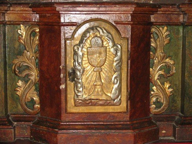 Barokowe tabernakulum z ołtarza MB Niepokalanej /przed konserwacją/