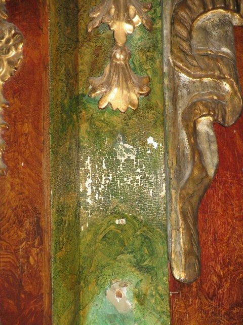 Barokowe elementy dekoracyjne uszaków /z ubytkami/ z ołtarza MB Niepokalanej /przed konserwacją/