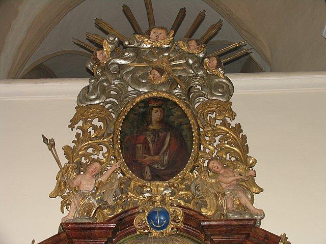 Barokowy obraz św. Jadwigi Śląskiej z ołtarza Najśw. Serca Pana Jezusa /przed konserwacją/