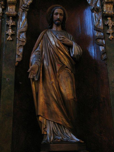 Figura Najśw. Serca Pana Jezusa z barokowego ołtarza /przed konserwacją/