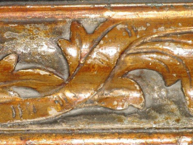 Fragment barokowej ramy z rzeźbionym akantem z ołtarza Najśw. Serca Pana Jezusa /przed konserwacją/